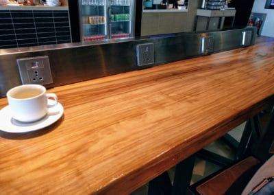 Counter with charging points