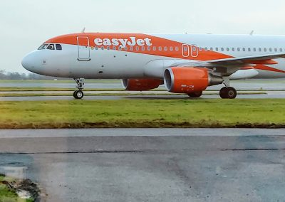 Easyjet Plane Taxiing at Manchester Airport